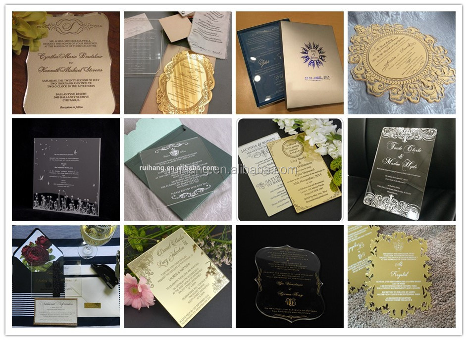 2016 elegant new style gold luxury acrylic laser cut wedding invitation card, butterfly wedding invitation card