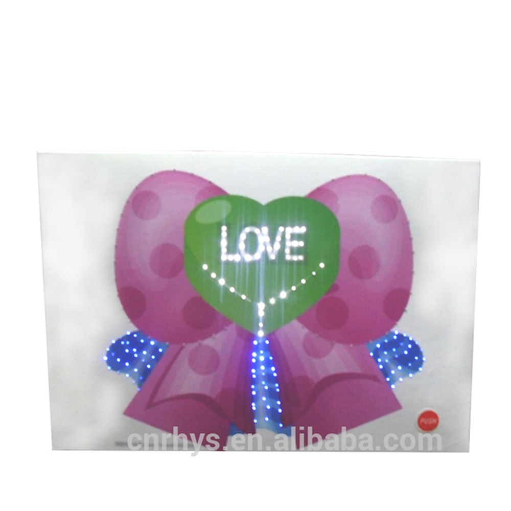 LED recordable greeting card valentine's day, customized light music card gift
