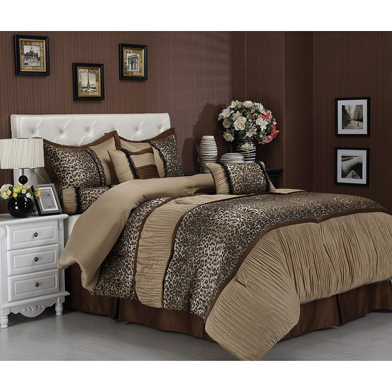 7 Piece Cal King, Modern Exotic Animal Print Pattern Comforter Set, Contemporary High Class Leopard Printed Design, Traditional Classic Ruched Themed, Luxury Mid-Century Bedding, Adorable Beige Color
