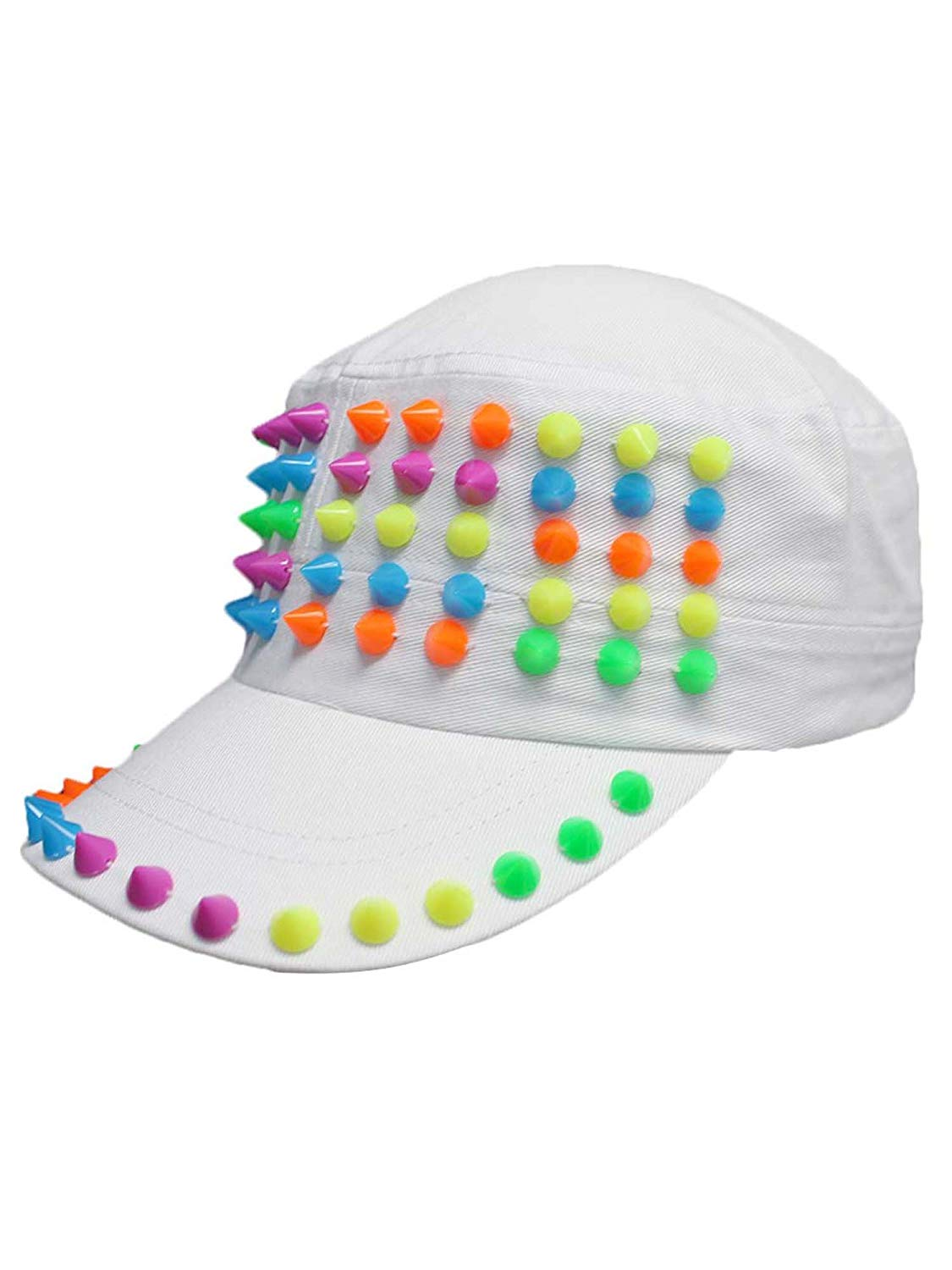 e65695414a4c Get Quotations · Luxury Divas Cadet Style Cotton Cap Hat with Rainbow Spikes