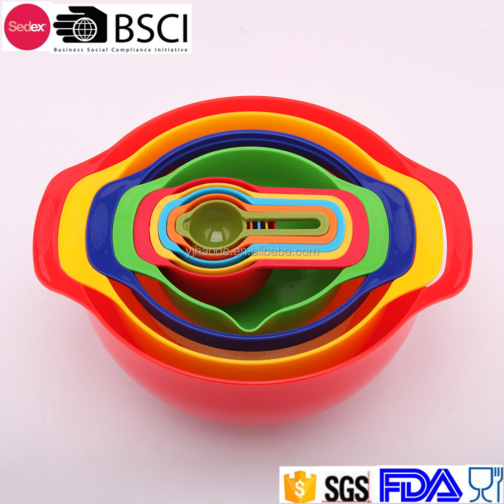 9pcs plastic rainbow bowl measuring cup set mix salad bowl set