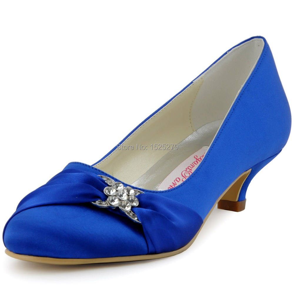 79ebbb2a689 Get Quotations · Multi-colors EP2006L Women Blue Bridal Party Low Heel Pumps  Almond Toe Wrap Satin Rhinestones