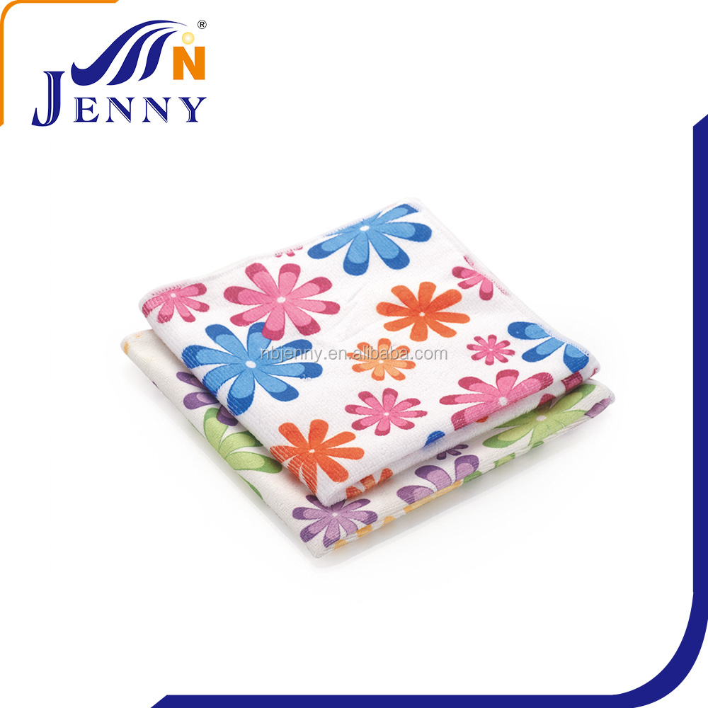 Factory direct sell printed cloth warp knitted microfiber cleaning cloth/towel