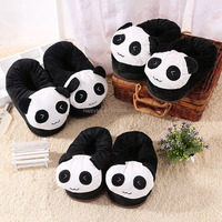 HI Panda plush indoor slippers winter house shoes unisex warm soft slippers
