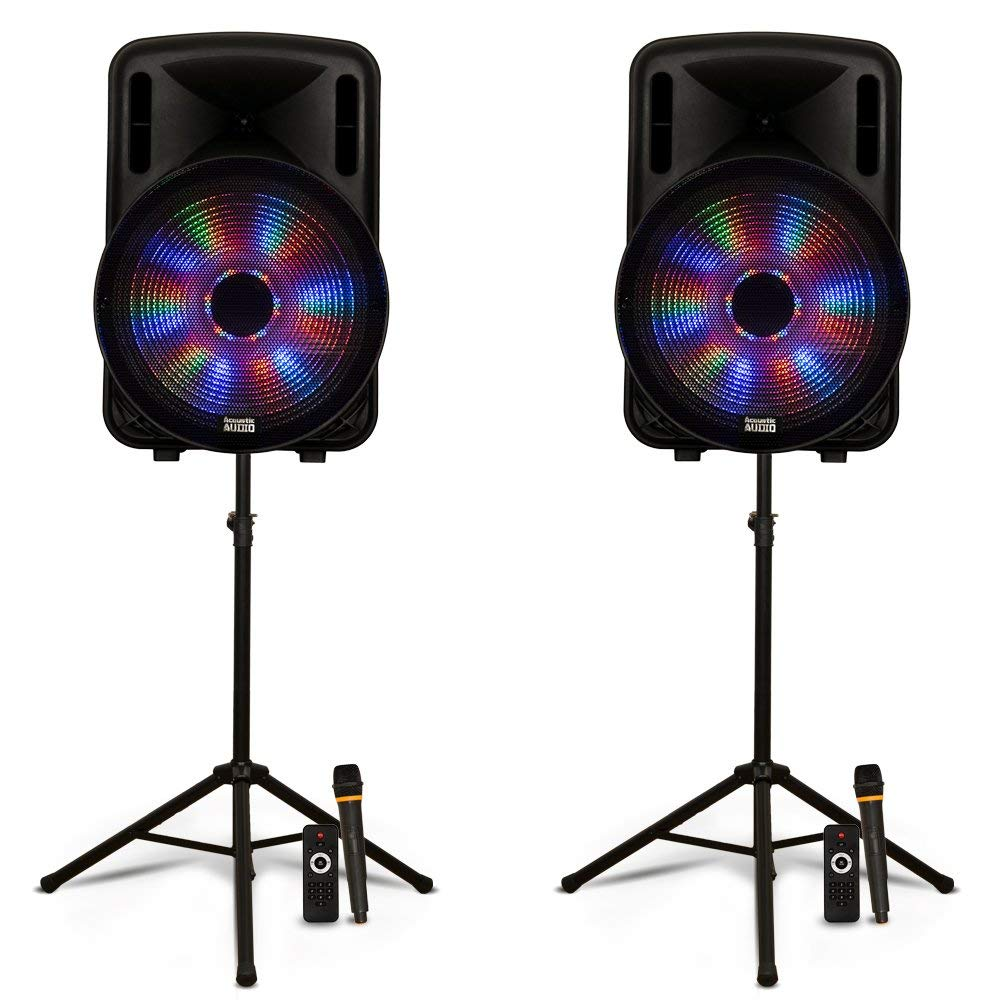"Acoustic Audio PRTY151 Battery Powered 15"" Bluetooth LED Speakers with Wireless Mics and Stands"
