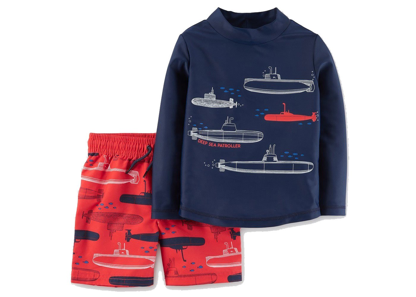 2cae36829 Get Quotations · Just One You by Carters Toddler Boys' Submarines Long  Sleeve Rash Guard Swim Set Blue