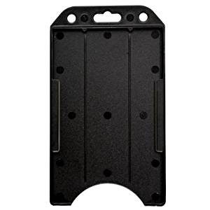 "Black 3 1/2"" X 2 1/4"" Vertical Open-face Rigid Plastic ID Card Holder by Specialist ID, Sold Individually"