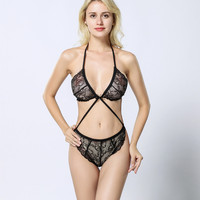 Black three-point lace brassiere triangle panties one-piece sexy lingerie