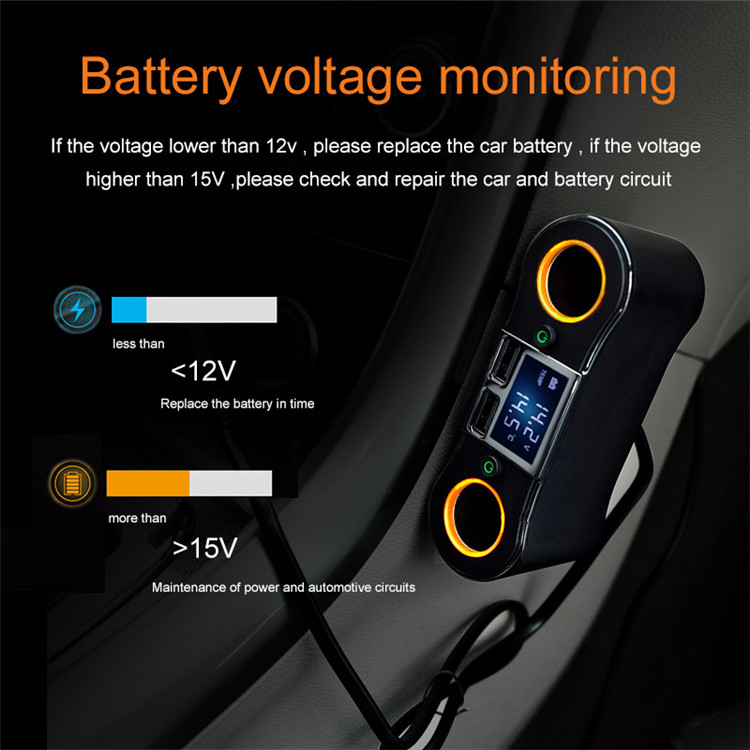 ZNB02 1 to 2 Car Cigarette Lighter Socket with On Off Switch LCD Display Dual USB Fast Charging