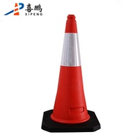 Fluorescent Durable 75CM PE Traffic Cone with Rubber Base Road Cone Safety Cone