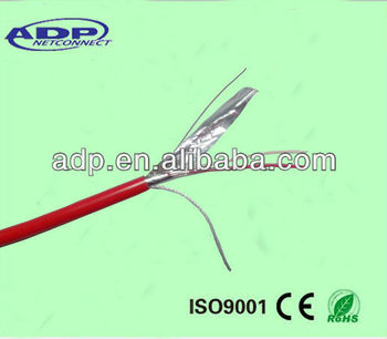 Shielded 2core fire alarm cable solid BC/CCA/CCS red PVC with 0.4mm CCA/CCS drain wire