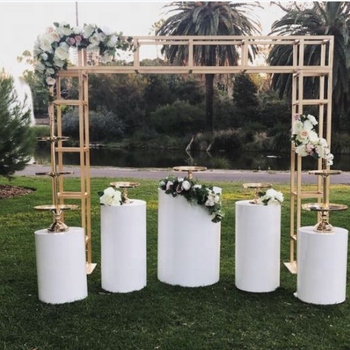 White Acrylic Round Cylinder Display Pedestal Perspex Plinth for Wedding Part Events