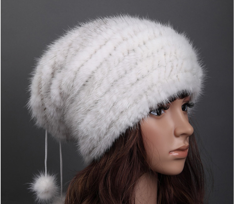 cac944ca774 DL6047 Top Knitted Real Mink Fur Hats Beanie Nature Fur Hat For Women  Winter Fur Skullies Caps
