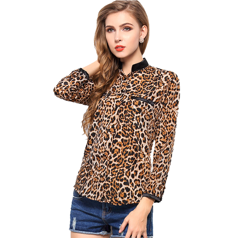 20e77e9d565 Get Quotations · Blusas Femininas New 2015 Chiffon Blouse Leopard Camisas Ladies  Long Sleeve Sheer Blouse Plus Size XXL