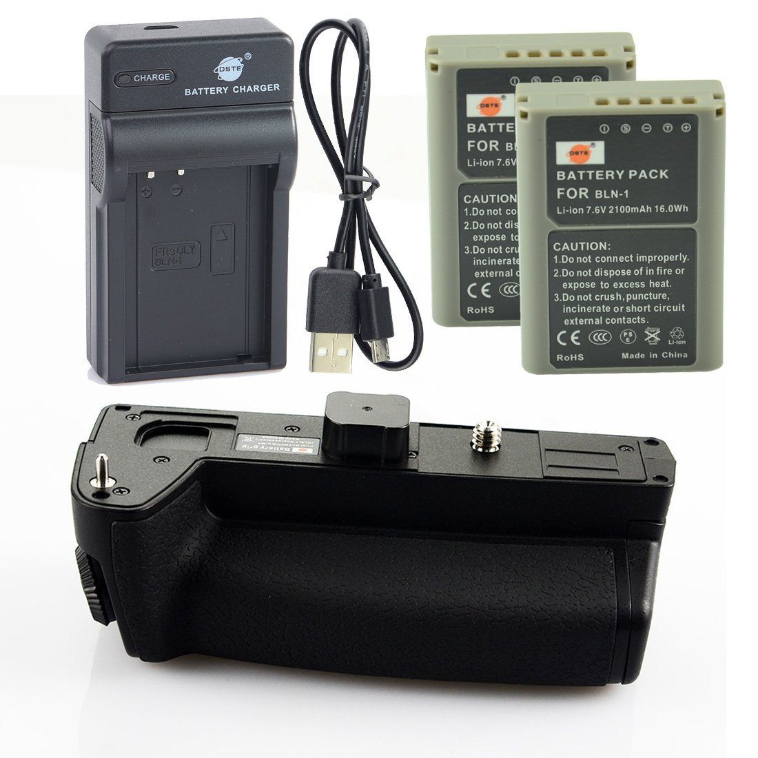 DSTE HLD-7 Battery Grip + 2x BLN-1 Battery + USB Charger for Olympus E-M1