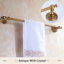 Штанги для полотенец 60 см с одной направляющей, латунный античный держатель для полотенец, полка для ванной, вешалка для полотенец, настенны...(Китай)