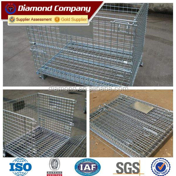 Hot sale collapsible storage steel mesh pallet cages