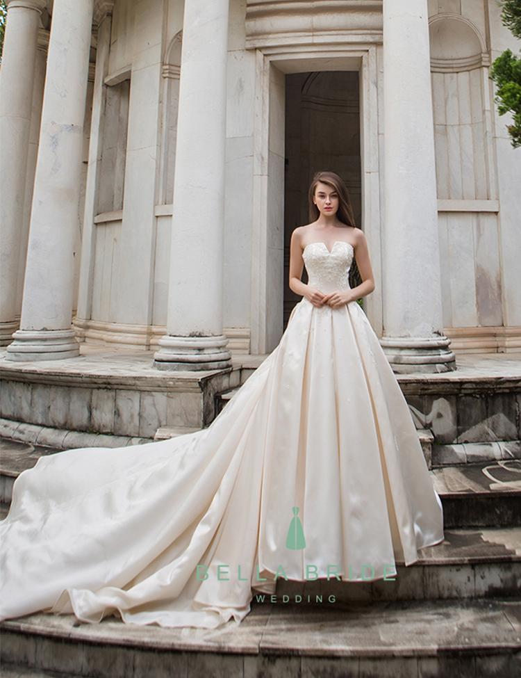 Simple Wedding Dress Bridal Gown Long