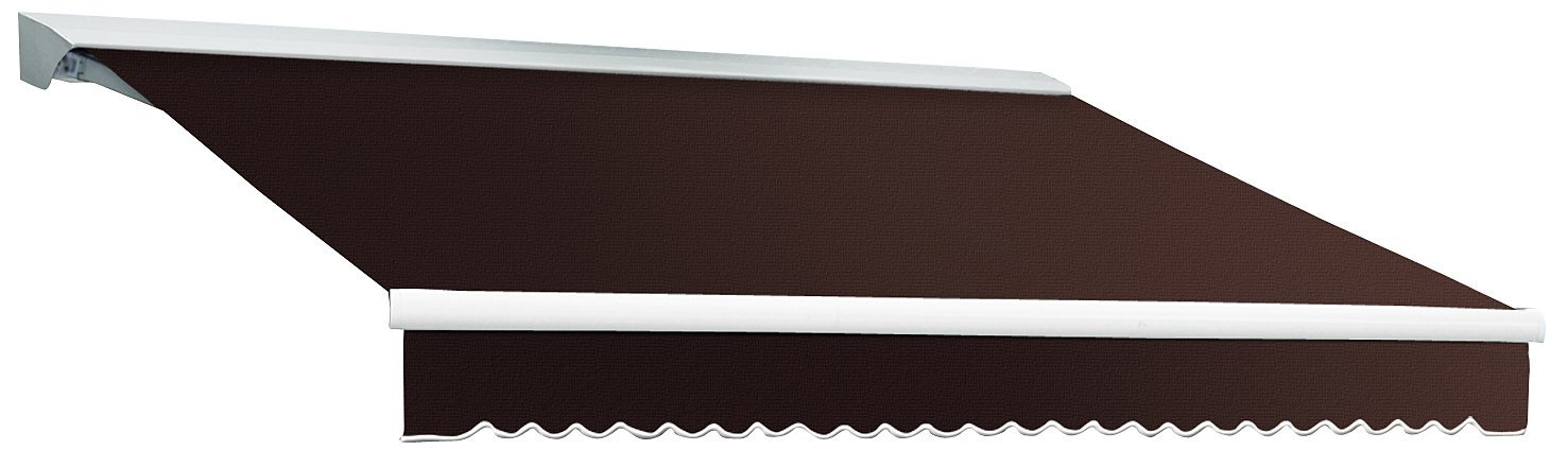 AWNTECH 12-Feet Destin-LX Hood Right Motor with Remote Retractable Awning, 120-Inch, Brown