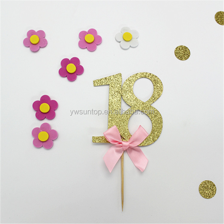 High Quality 18th Glitter Gold Cake Topper Birthday Cake Decoration
