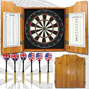 Professional Style Solid Wood Dart Cabinet Set with Board and Darts
