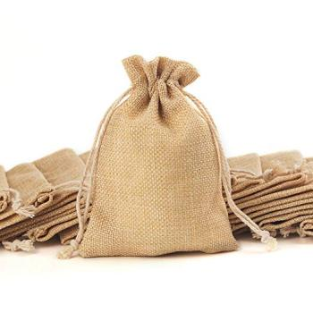 Wholesale eco friendly Small Size Natural Printed candy gift Burlap jute bag with drawstring