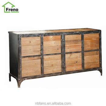 Antique Metal Frame Cabinet 8 Drawer Reclaimed Wood Cabinet