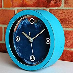 "4.7"" Round Retro Vintage Silent Non-ticking Desk Clocks Antique Table Clock Desktop Clock Home Decoration Alarm Clock Timepieces Clock Blue"