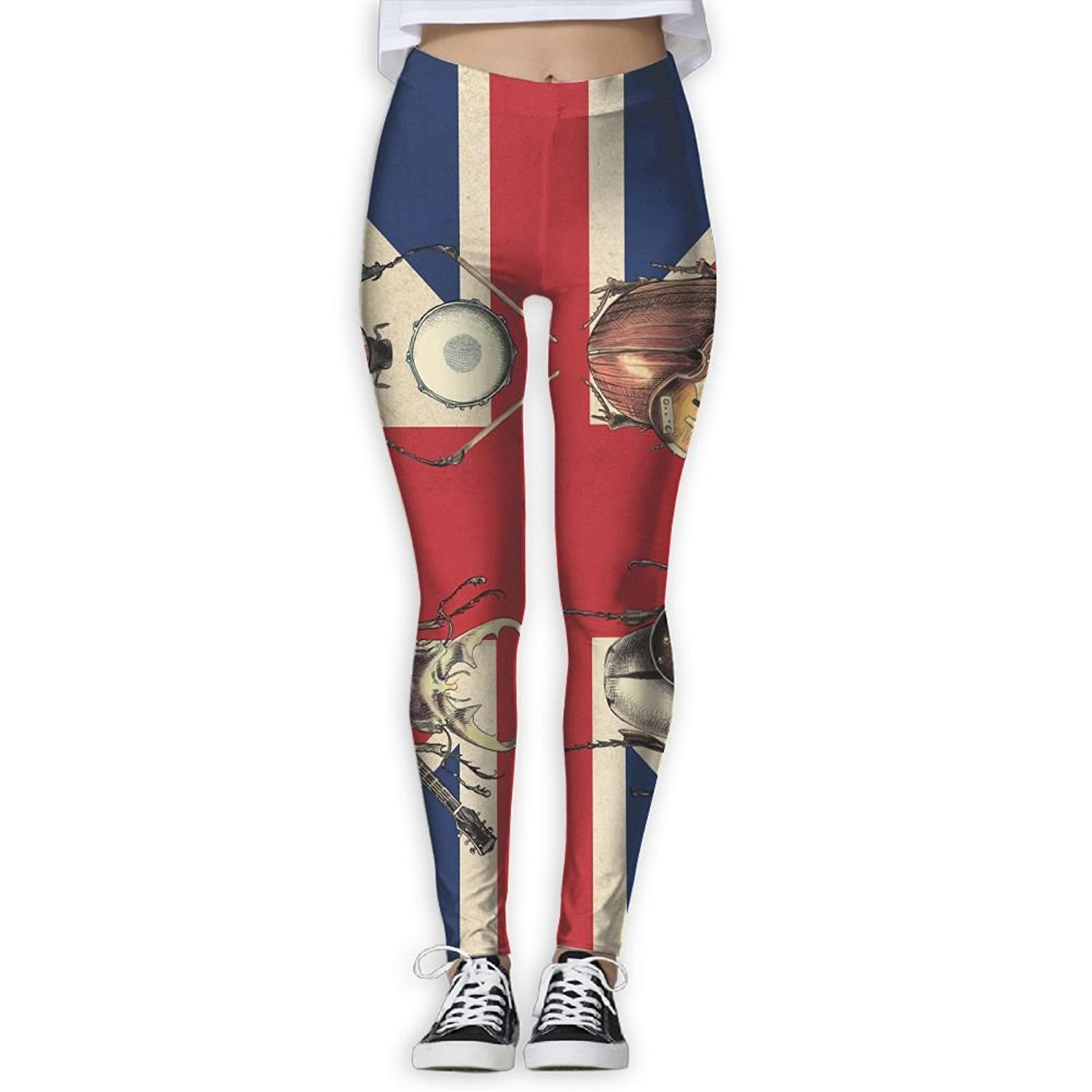 9a16416acac885 Get Quotations · Paullaker Yoga Pants, British Flag Music Insects Women's  Yoga Pants Tummy Control Workout Running Yoga