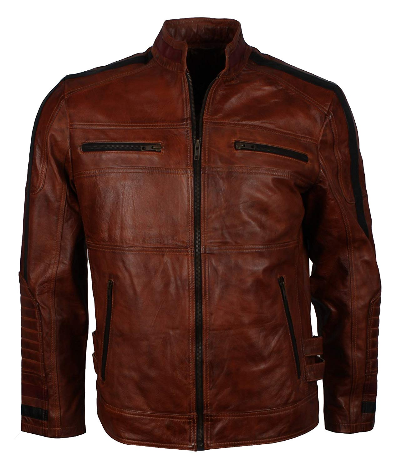 Herts Leather Authentic Cafe Racer Biker Style Mens Real Leather Jacket- Best SELLER