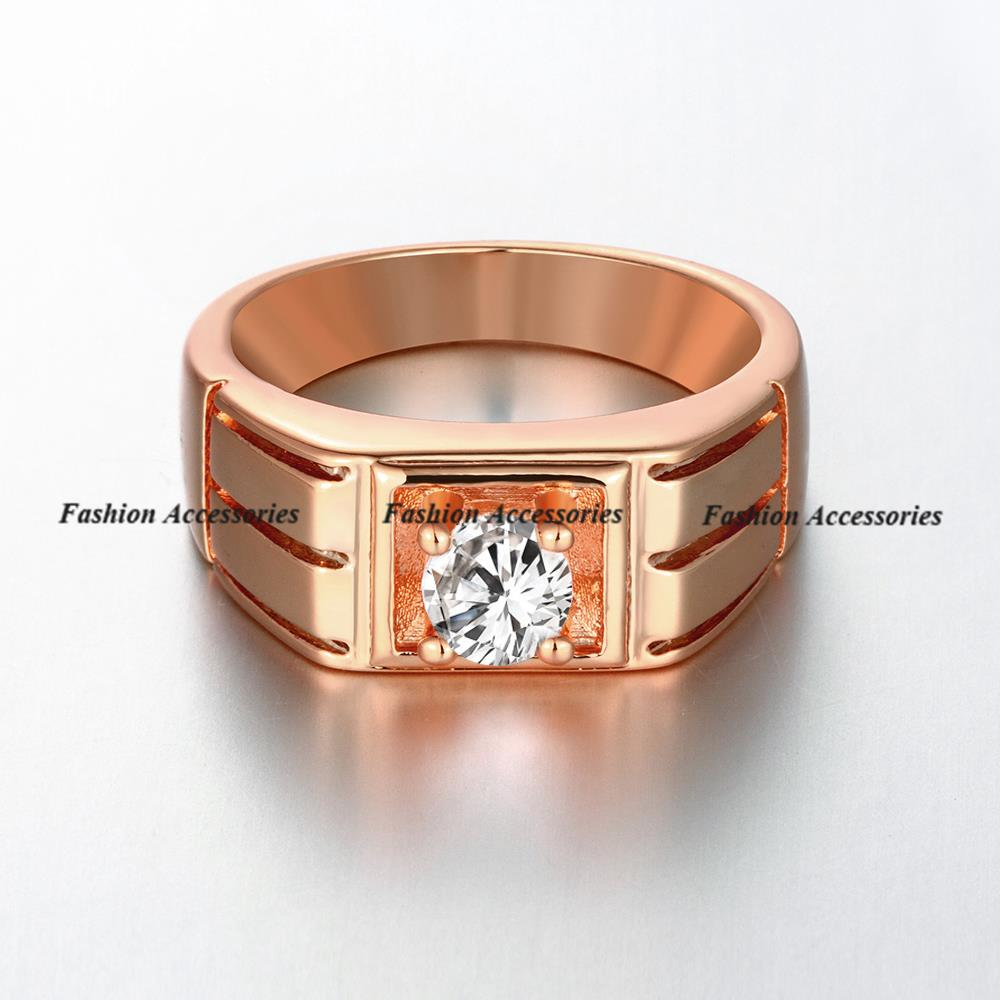 classic engagement ring men 18k rose gold filled wedding band ring aaa swiss cz diamond promise. Black Bedroom Furniture Sets. Home Design Ideas