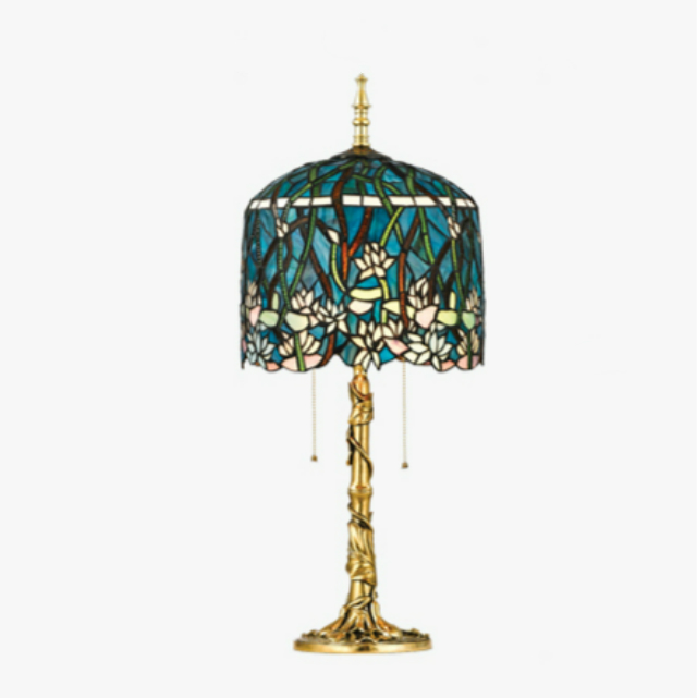 Sıcak satış Tiffany şekli Vintage pirinç masa lambası kapalı dekorasyon ayarlamak masa ışığı