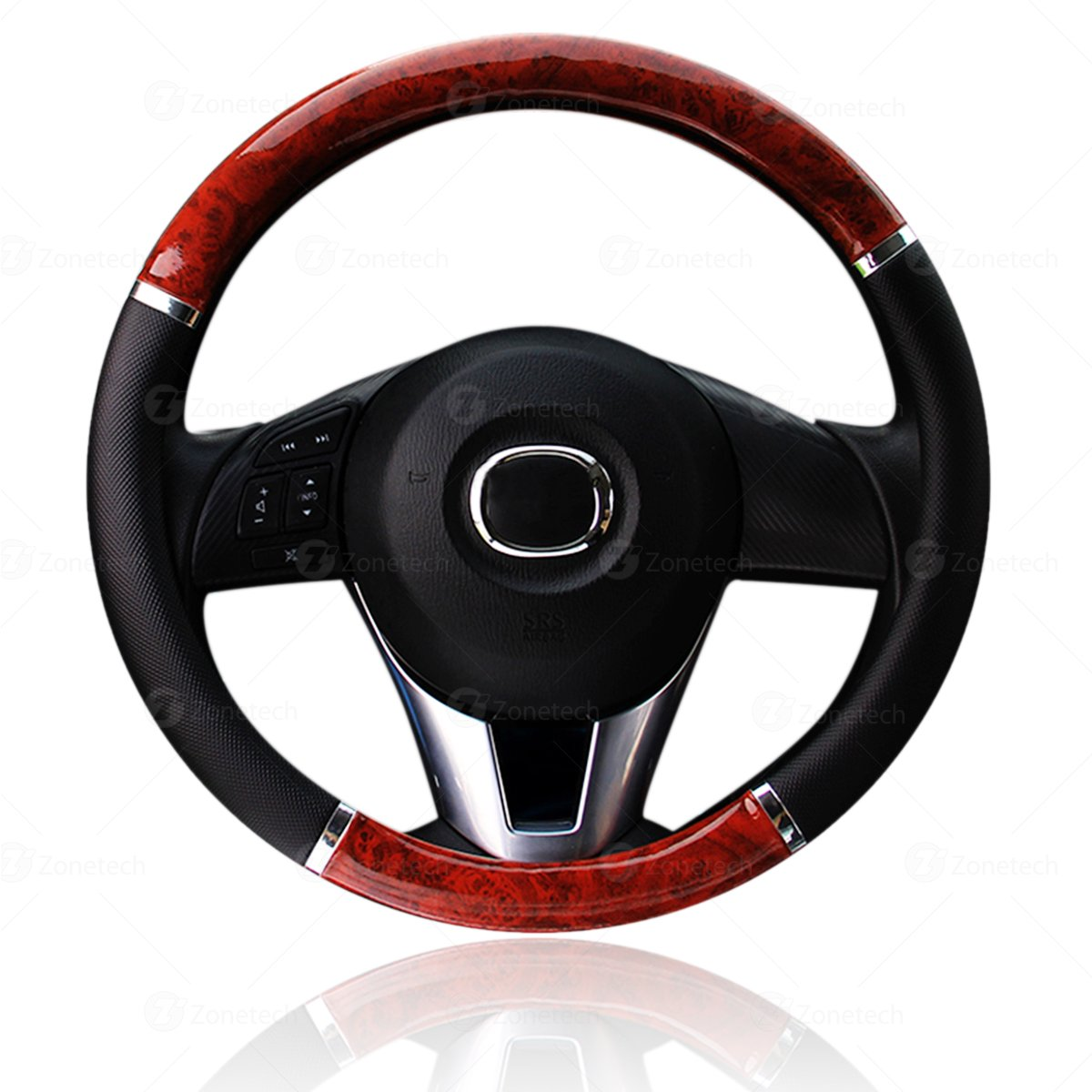 Zone Tech Steering Wheel Cover Black and Wood Premium Quality Classic Black with Wood Grain Style Cover Perfect for all Standard Size Auto Steering Wheel