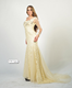 E18 One-Shoulder Short Sleeve Floor-Length Evening Dress With Beaded and Sequins