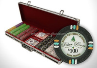 NEW 500 Clay 13.5 Gram Poker Chips Set w Black Aluminum Case
