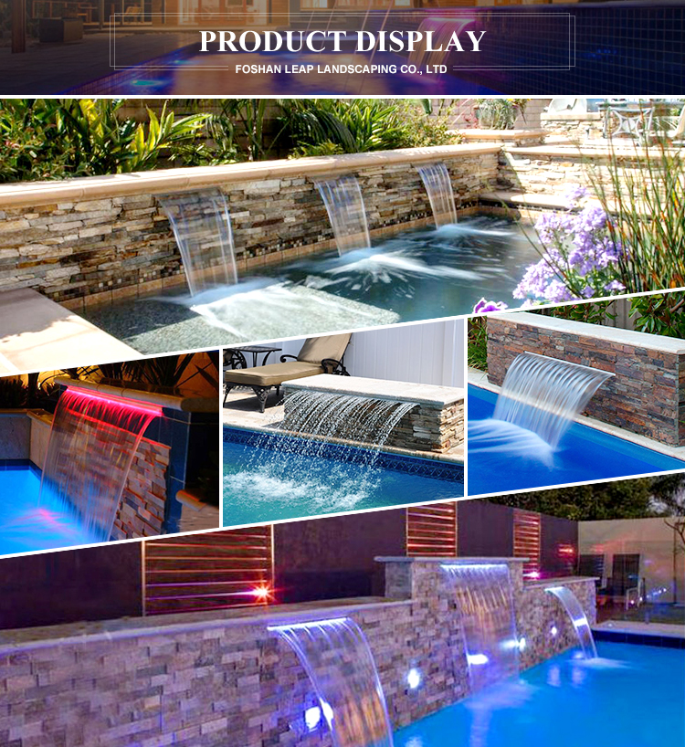 Swimming pool mini steel water waterfall fountain