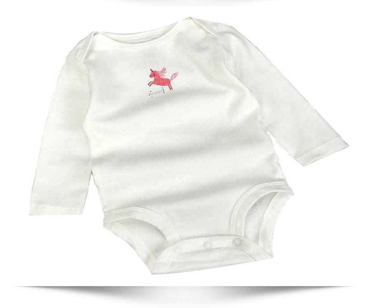 Factory outlet newborn boutique printed unicorn long sleeve baby girls romper