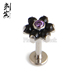 ASTM F136 Titanium Onyx Natural Stone Flower Labret Helix Stud Body Piercing Jewelry