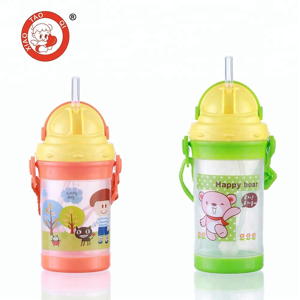 PP children baby drinking straw water bottle for babies