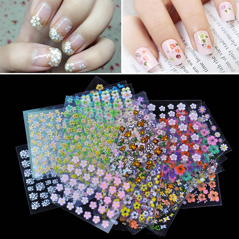 Top Nail 30 Sheet Beauty Floral Design Patterns Nail Stickers Mixed Decals Transfer Manicure Tips 3D