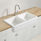 White Ceramic Custom Size Double Bowls Farmhouse Apron Kitchen Sink