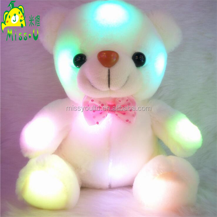 Soft Cute Shine Plush LED Pillow Toys Valentines Wholesale Gift LED Toys Night Lighting Bear