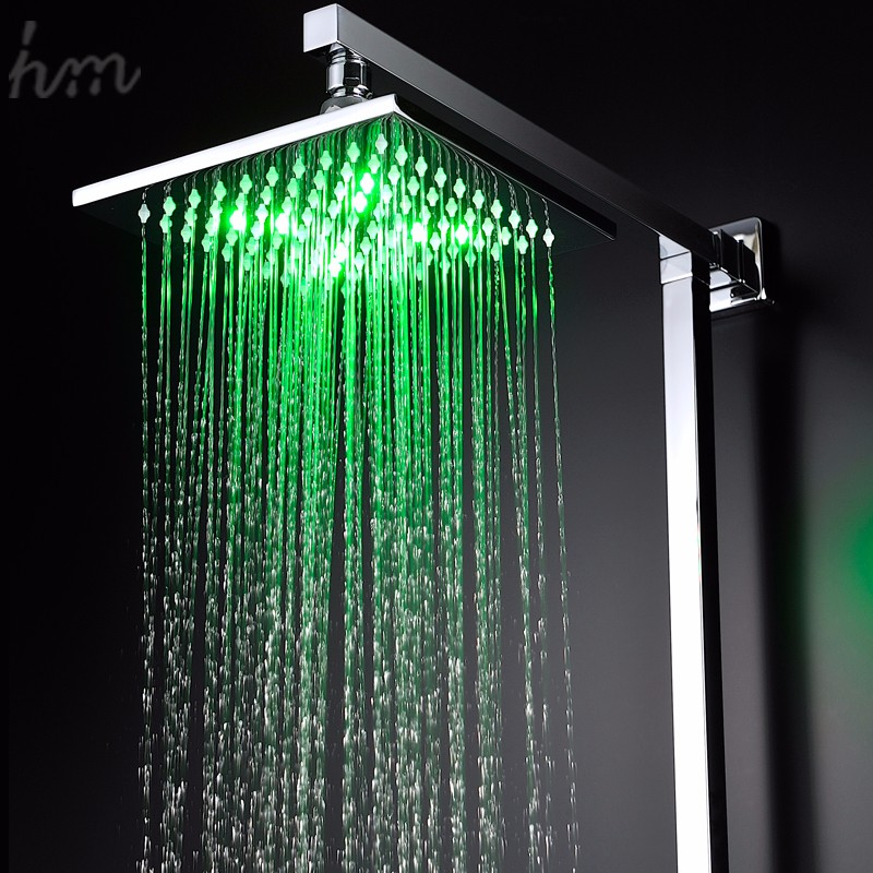 Square 8 Inches Led Light Shower Head Sets Handheld Shower With ...