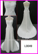 2014 guangzhou strapless appliqued lace slim chiffon wedding gowns/bridal dress with beaded belt/back bow L0049