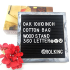 10 x 10 Premium Oak Vintage Framed Letter Board With Changeable 360 Letters Cotton Bag and Wood Stand Gray Felt Letter Board