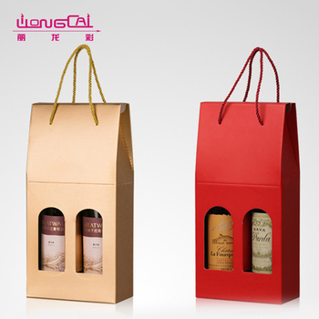High quality custom design luxury paper wine bottle bag with PVC window