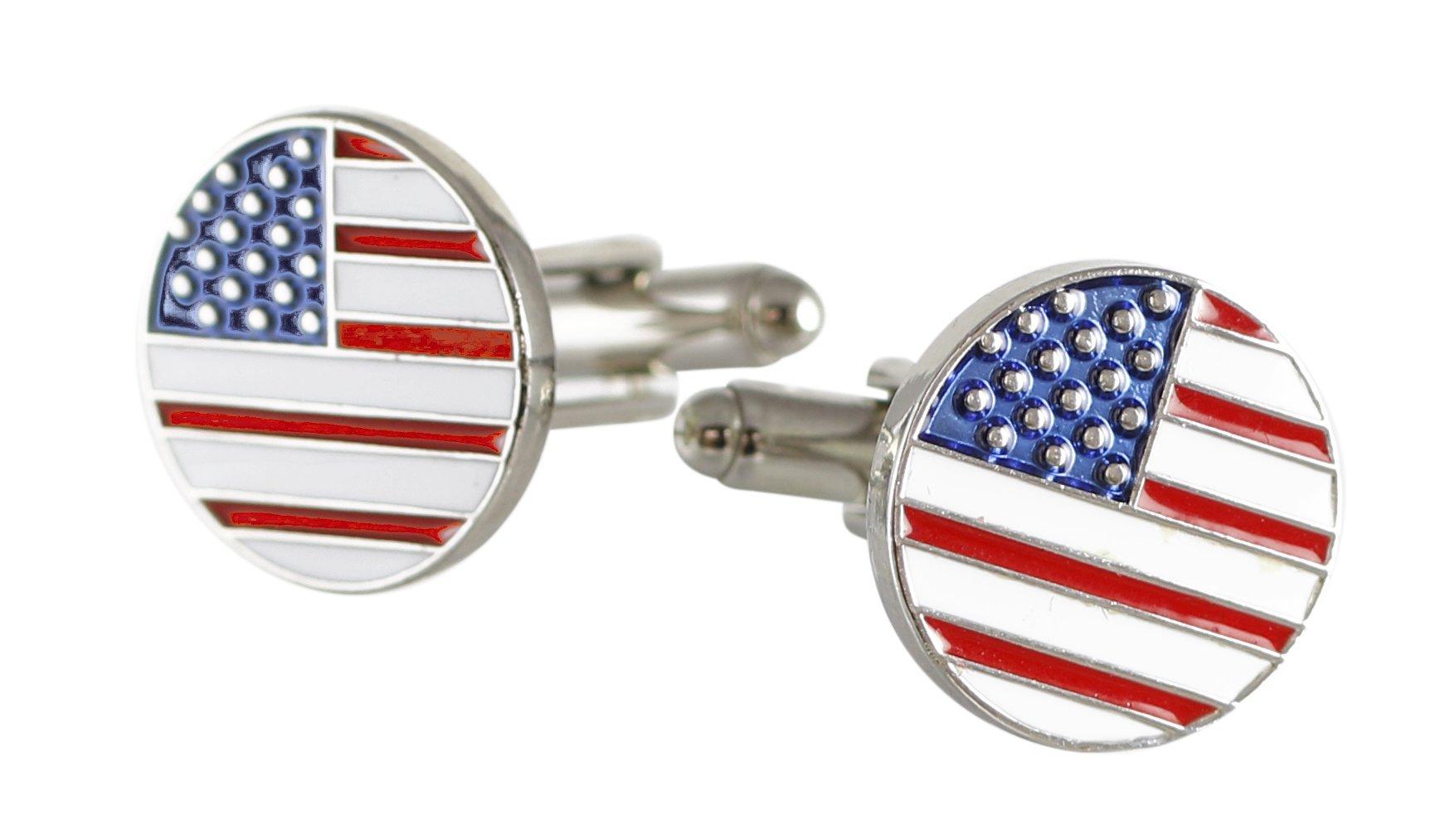 American Flag USA Enamel Circle Cufflinks Shiny Silver Metal