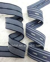 20mm Two Tone Button Hole Elastic Webbing With Striped Pattern