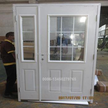 4 Panels Metal Door With Half Moon Glass Buy Metal Doors