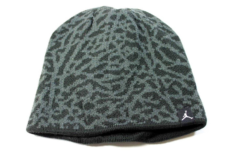 Jordan Youth's Reversible Elephant Print Black/Gray Beanie Hat size 8/20